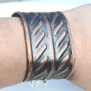 Industrial Silver Chain Copper Cuff Bracelet Wide